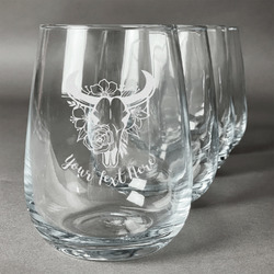 Boho Stemless Wine Glasses (Set of 4) (Personalized)