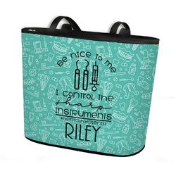 Dental Hygienist Bucket Tote w/ Genuine Leather Trim (Personalized)