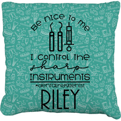 Dental Hygienist Faux-Linen Throw Pillow (Personalized)