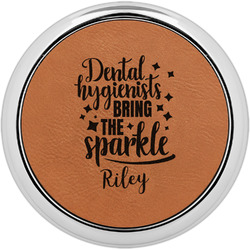 Dental Hygienist Leatherette Round Coaster w/ Silver Edge - Single or Set (Personalized)