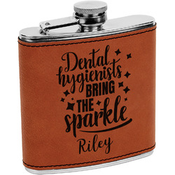 Dental Hygienist Leatherette Wrapped Stainless Steel Flask (Personalized)