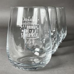 Dental Hygienist Stemless Wine Glasses (Set of 4) (Personalized)