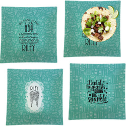 """Dental Hygienist Set of 4 Glass Square Lunch / Dinner Plate 9.5"""" (Personalized)"""