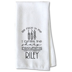 Dental Hygienist Waffle Weave Kitchen Towel - Partial Print (Personalized)