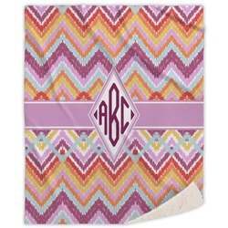 Ikat Chevron Sherpa Throw Blanket (Personalized)