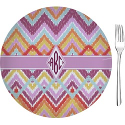 "Ikat Chevron 8"" Glass Appetizer / Dessert Plates - Single or Set (Personalized)"