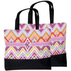 Ikat Chevron Beach Tote Bag (Personalized)