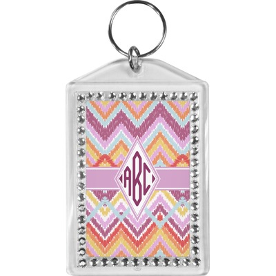 Ikat Chevron Bling Keychain (Personalized)