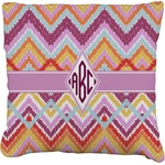 Ikat Chevron Faux-Linen Throw Pillow (Personalized)