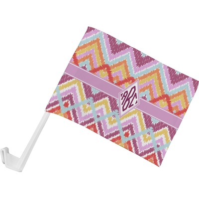 Ikat Chevron Car Flag (Personalized)