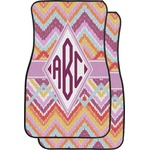 Ikat Chevron Car Floor Mats (Front Seat) (Personalized)