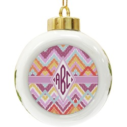 Ikat Chevron Ceramic Ball Ornament (Personalized)