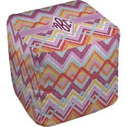 Ikat Chevron Cube Pouf Ottoman (Personalized)