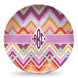 Ikat Chevron Microwave Safe Plastic Plate - Composite Polymer (Personalized)