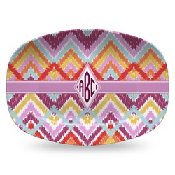 Ikat Chevron Plastic Platter - Microwave & Oven Safe Composite Polymer (Personalized)