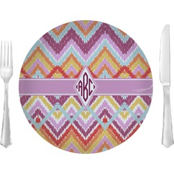 """Ikat Chevron Glass Lunch / Dinner Plates 10"""" - Single or Set (Personalized)"""