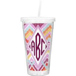 Ikat Chevron Double Wall Tumbler with Straw (Personalized)