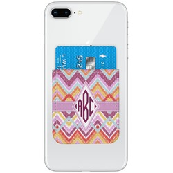 Ikat Chevron Genuine Leather Adhesive Phone Wallet (Personalized)