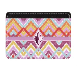 Ikat Chevron Genuine Leather Front Pocket Wallet (Personalized)