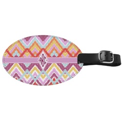 Ikat Chevron Genuine Leather Oval Luggage Tag (Personalized)
