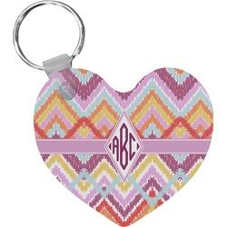Ikat Chevron Heart Keychain (Personalized)
