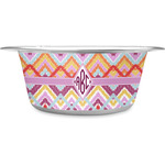 Ikat Chevron Stainless Steel Dog Bowl (Personalized)