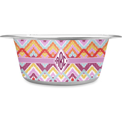 Ikat Chevron Stainless Steel Pet Bowl (Personalized)