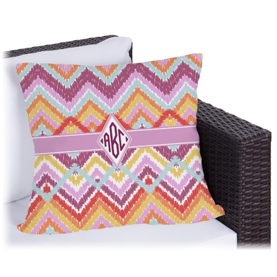 Ikat Chevron Outdoor Pillow (Personalized)