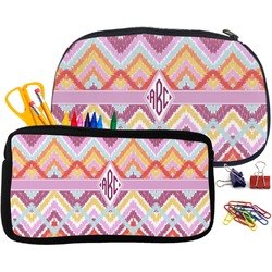 Ikat Chevron Pencil / School Supplies Bag (Personalized)