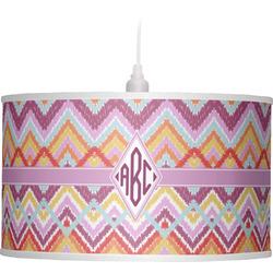 Ikat Chevron Drum Pendant Lamp (Personalized)