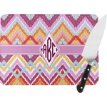 Ikat Chevron Rectangular Glass Cutting Board (Personalized)