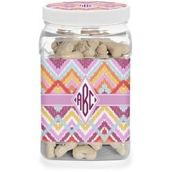 Ikat Chevron Pet Treat Jar (Personalized)