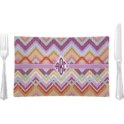 Ikat Chevron Rectangular Glass Lunch / Dinner Plate - Single or Set (Personalized)