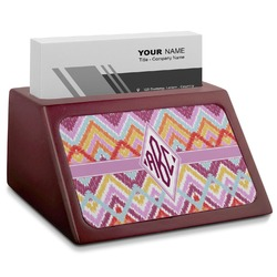 Ikat Chevron Red Mahogany Business Card Holder (Personalized)