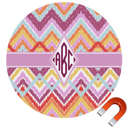 Ikat Chevron Round Car Magnet (Personalized)