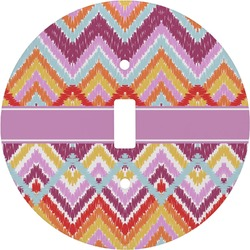 Ikat Chevron Round Light Switch Cover (Personalized)