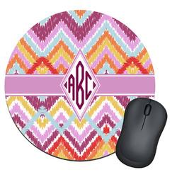 Ikat Chevron Round Mouse Pad (Personalized)
