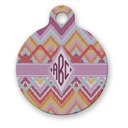 Ikat Chevron Round Pet Tag (Personalized)