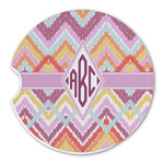 Ikat Chevron Sandstone Car Coasters (Personalized)