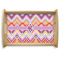 Ikat Chevron Natural Wooden Tray (Personalized)
