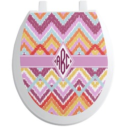 Ikat Chevron Toilet Seat Decal (Personalized)