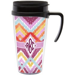 Ikat Chevron Travel Mug with Handle (Personalized)