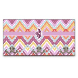 Ikat Chevron Wall Mounted Coat Rack (Personalized)