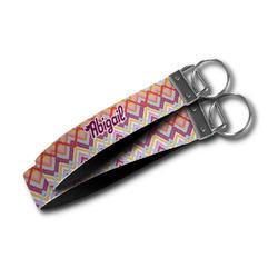 Ikat Chevron Wristlet Webbing Keychain Fob (Personalized)