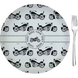 """Motorcycle 8"""" Glass Appetizer / Dessert Plates - Single or Set (Personalized)"""