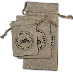 Motorcycle Burlap Gift Bags (Personalized)