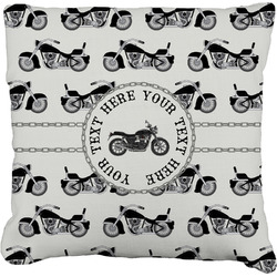 Motorcycle Faux-Linen Throw Pillow (Personalized)