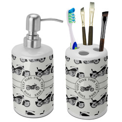 Motorcycle Ceramic Bathroom Accessories Set (Personalized)