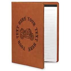 Motorcycle Leatherette Portfolio with Notepad (Personalized)