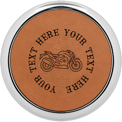 Motorcycle Leatherette Round Coaster w/ Silver Edge - Single or Set (Personalized)